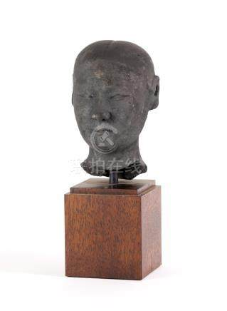 Chinese Black Terracotta Head, Han dynasty  A3WCC