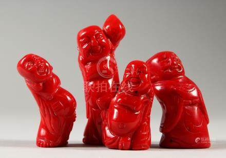 FOUR CHINESE CARVED CORAL FIGURES. Largest 8cms high.