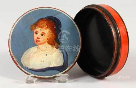 AN EARLY 18TH CENTURY LACQUER CIRCULAR BOX, the lid with a primitive portrait of a girl.