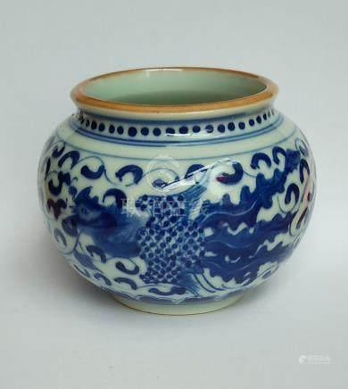 青花雙鳳紋罐