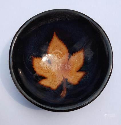 黒釉風葉茶盞