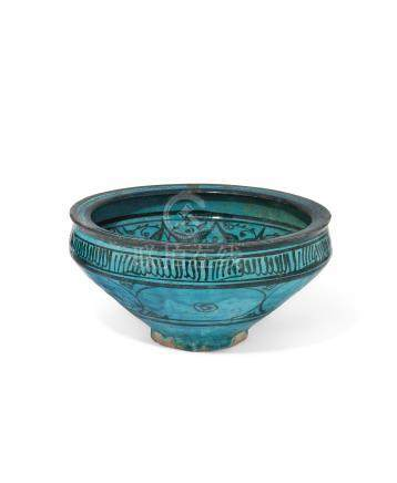 A TURQUOISE-GLAZED POTTERY BOWL