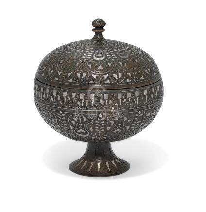 A SILVER-INLAID BRONZE LIDDED BOWL