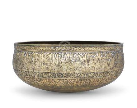 AN ENGRAVED SILVER-INLAID BRONZE BOWL