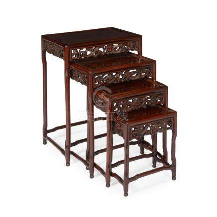 NEST OF FOUR HARDWOOD TABLES LATE QING DYNASTY largest 52cm