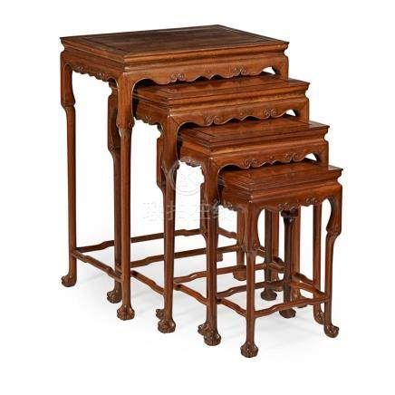 NEST OF FOUR WOODEN TABLES LATE QING DYNASTY largest 51cm wi