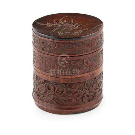 CARVED BAMBOO-VENEER HARDWOOD THREE-TIERED BOX AND COVER QIN
