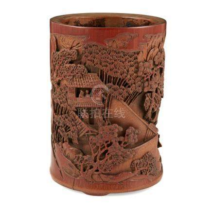 CARVED BAMBOO BRUSHPOT LATE QING DYNASTY 16cm high