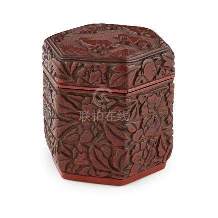 SMALL CARVED CINNABAR LACQUER HEXAGONAL BOX POSSIBLY MING DY