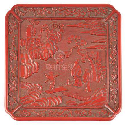 CINNABAR LACQUER QUATREFOIL DISH MING DYNASTY, 16TH CENTURY