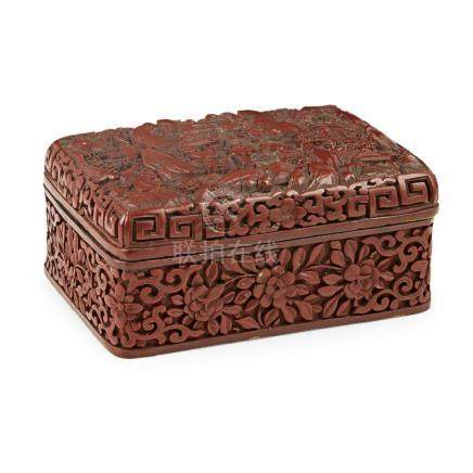 CINNABAR LACQUER RECTANGULAR BOX AND COVER LATE QING DYNASTY