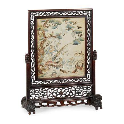 CANTON EMBROIDERED SILK 'HUNDRED BIRDS' PANEL QING DYNASTY,