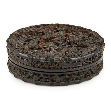 Y CARVED TORTOISESHELL CIRCULAR BOX AND COVER QING DYNASTY,