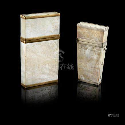 MOTHER-OF-PEARL CARD CASE AND ETUI QING DYNASTY, 19TH CENTUR