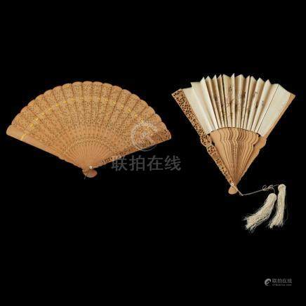 TWO SANDALWOOD FANS QING DYNASTY, 19TH CENTURY largest 52.5c