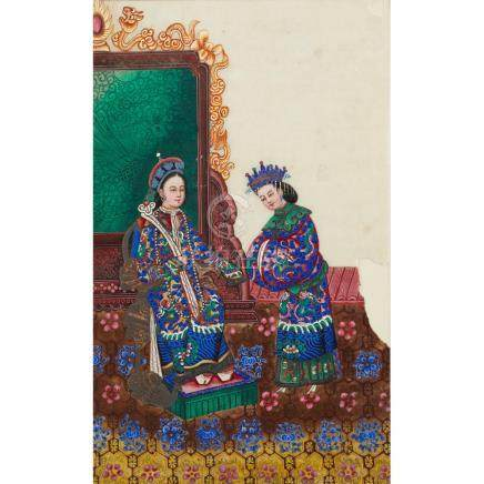 ALBUM OF NINETEEN FINE PAINTINGS ON PITH PAPER QING DYNASTY,