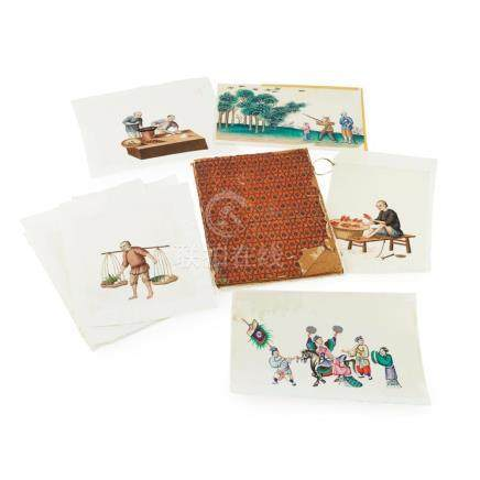 ALBUM OF SIX PAINTINGS ON PITH PAPER SIGNED CHEONGQUA, 19TH