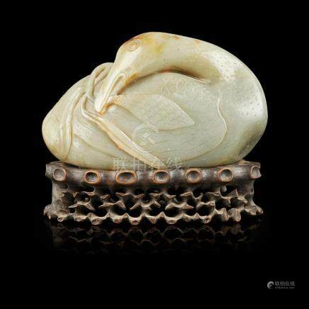 LARGE CELADON JADE MODEL OF A GOOSE QING DYNASTY, 18TH/19TH