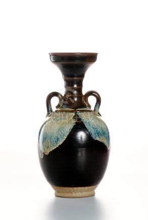 Flambe Glazed Bottle Vase