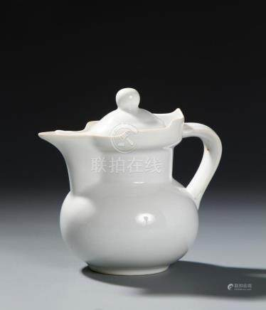 White-Glazed 'Monk's Cap' Ewer and Cover