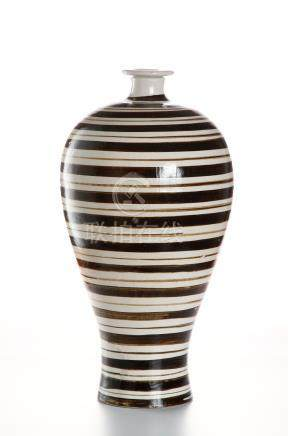 Cizhou Brown and White Slip Painted Meiping Vase