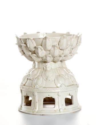 White Glazed Ting-Type Double-Lotus Stand