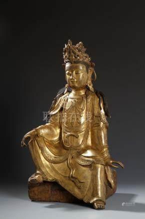 Important Ming Gilt-Bronze Buddha Figure of Guanyi