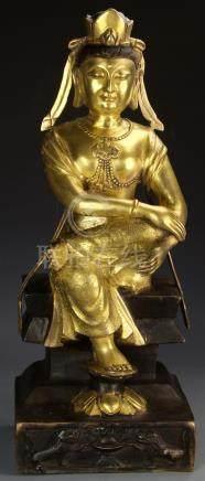 Chinese Gilt-Bronze Buddha Figure of Guanyin