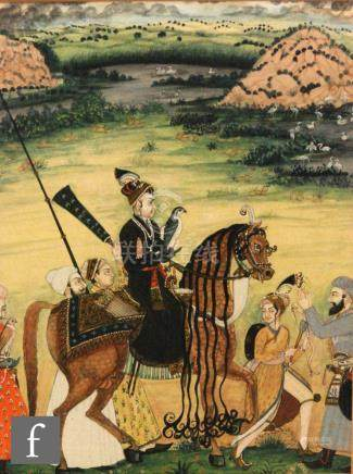 Irshad ul Hug (contemporary) - 'Dara Shikoh falconing', gouache, framed,