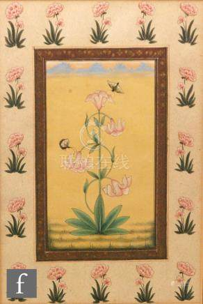 Mohanlal Soni (contemporary) - 'Lilies from the Kasmir Valley', gouache, framed,