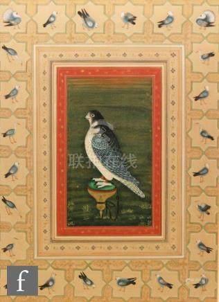 Mohanlal Soni (contemporary) - 'Falcon on a block', gouache, framed,