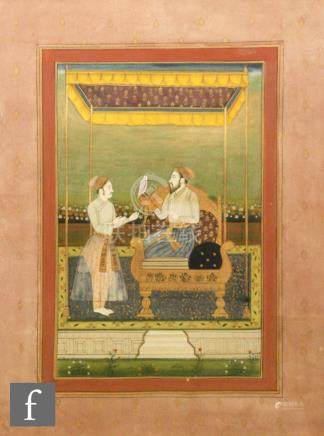 Mohanlal Soni (contemporary) - 'A study of a nobleman sitting on a throne holding a falcon',