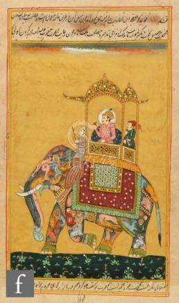 Moghul School (20th century) - A prince with his attendants riding on an elephant, gouache,