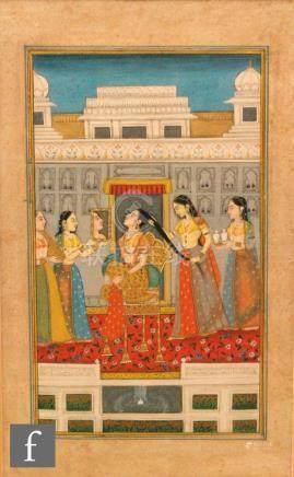Dwarka Lal Jangid (contemporary) - 'A Princess adorning her tresses', gouache, framed,