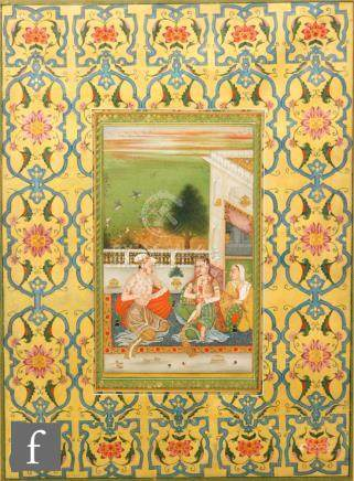 Irshad ul Hug (contemporary) - 'A nobleman with his beloved on a terrace', gouache, framed,