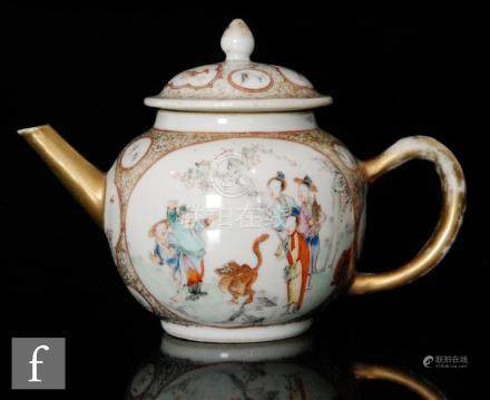 A Chinese Qianlong (1736-1795) export porcelain famille rose teapot,