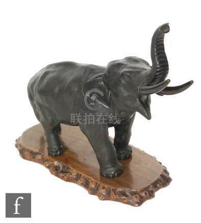 A Japanese bronze figure of a standing elephant, Meiji Period (1868-1912),