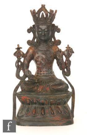 A Sino-Tibetan style figure of Amitayus,
