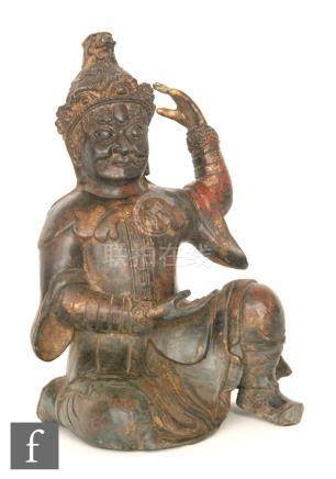 A Sino-Tibetan style figure of Vaishravana,