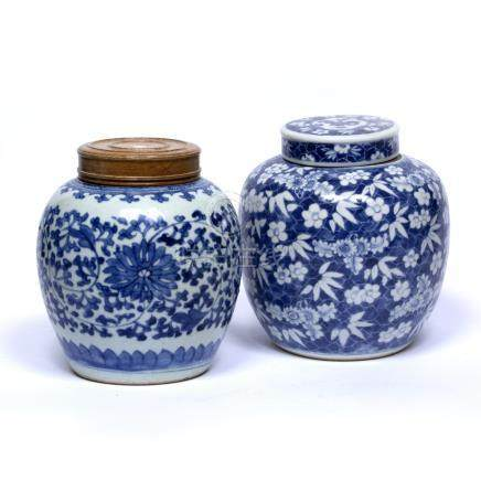 Two blue and white ginger jars Chinese, 19th Century the first decorated with flowering prunus