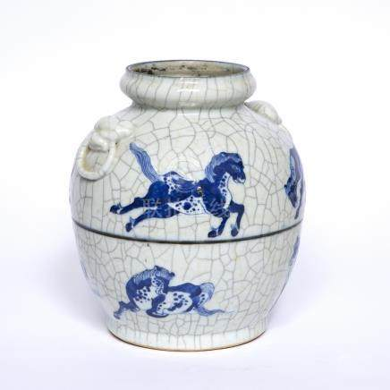 Blue and white crackleware vase Chinese depicting horses in a higher and lower band with two