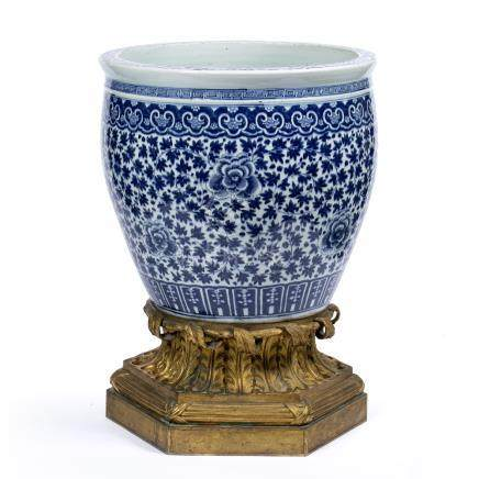 Blue and white goldfish jardiniere Chinese, 19th Century decorated with a Ming style lotus and