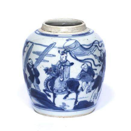 Blue and white jar Chinese, Kangxi (1662-1722) depicting figures in a procession with a central