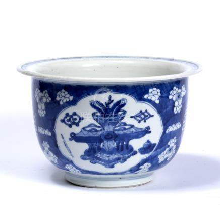 Blue and white flower pot Chinese, Kangxi (1662-1722) decorated in prunus leaf and two shou