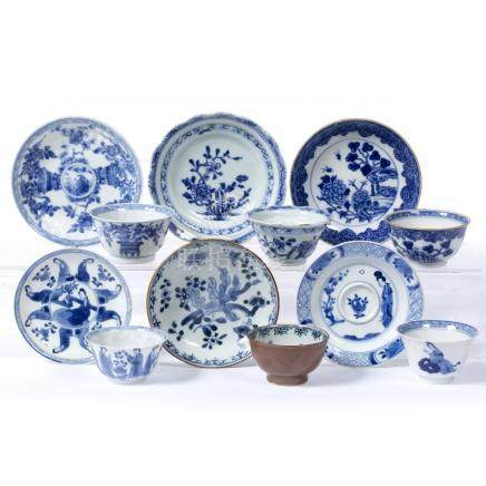 Group of six tea bowls and saucers Kangxi and later including phoenix, foliate, figure and other