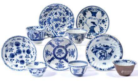 Group of five tea bowls and saucers Kangxi and later including phoenix ,foliate, figure and cafe