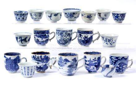 Group of blue and white coffee cups and tea bowls Chinese 18th/19th Century variously decorated with