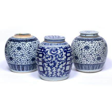 Three Ginger jars Chinese, 19th Century to include a pair decorated in lotus leaf decoration, the