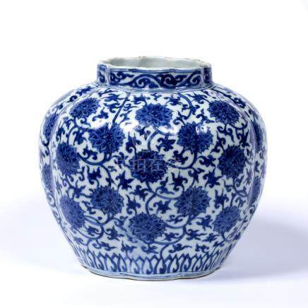 Ming style blue and white porcelain lobe shaped globular jar Chinese, Kangxi decorated with an all