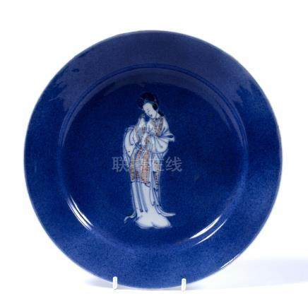 Porcelain saucer dish Chinese, Kangxi (1662-1722) decorated centrally in a white glaze with blue and